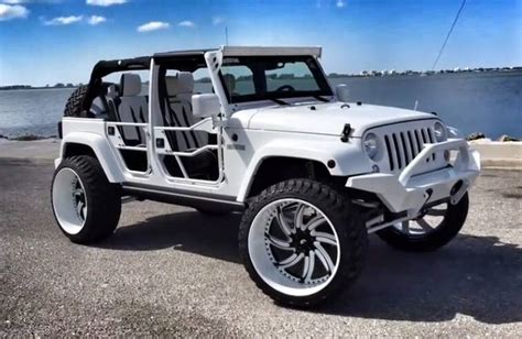 Jeep Tire White Jeep Wrangler With Forgiatos And 37 Inch Mud Tires