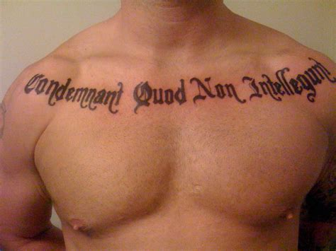 chest tattoo latin latin tattoo picture