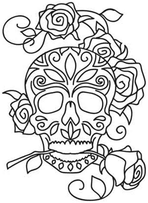 day of the dead coloring pages flowers dia de los muertos urban threads unique and awesome