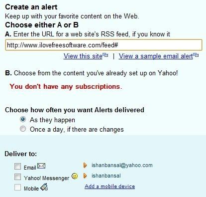 yahoo email update alert setup rss alerts how to get email alerts when rss feed is
