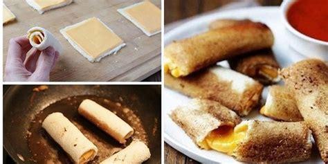cara membuat makanan ringan dari roti tawar kuliner resep cheese stick leleh menggunakan roti tawar