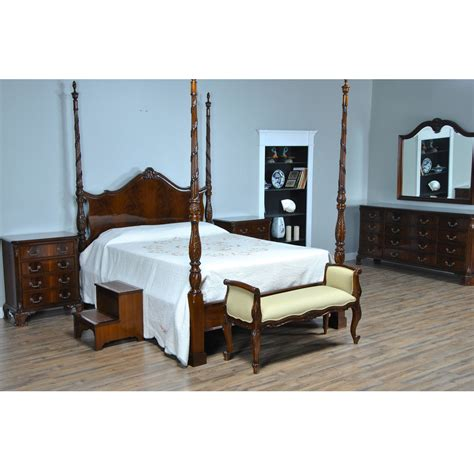 mahogany queen size four poster bed nbr019q