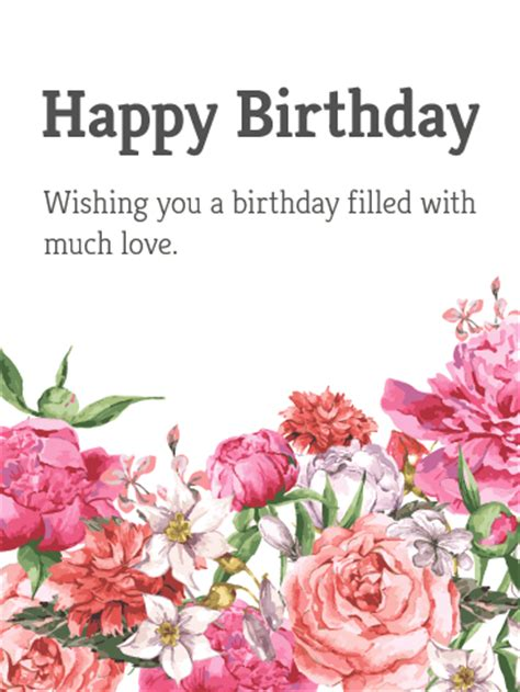 Happy Birthday Cards With Flowers Garden Flower Happy Birthday Card Birthday Greeting