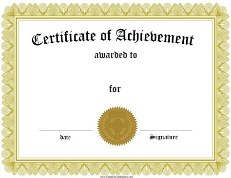 template of a certificate free customizable certificate of achievement
