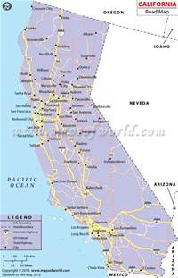 california road map with cities map of california free large images