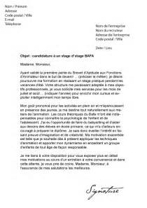 Objet Stage Lettre De Motivation Lettre De Motivation Stage Bafa Mod 232 Le De Lettre