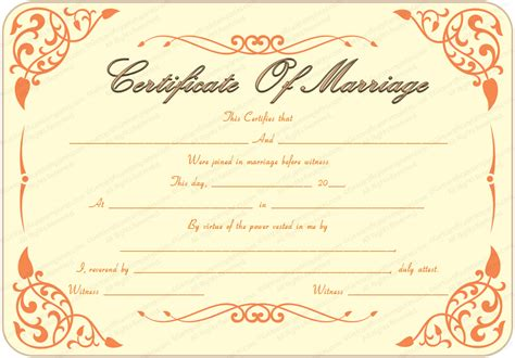 printable marriage certificate template the gallery for gt printable marriage certificate