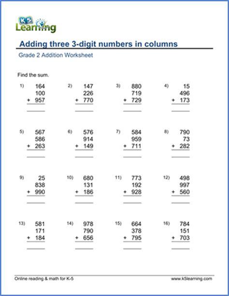 3 digit math worksheets grade 2 math worksheet addition