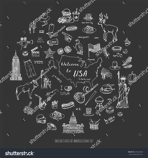 fast food doodle god doodle usa set vector stock vector 345236648