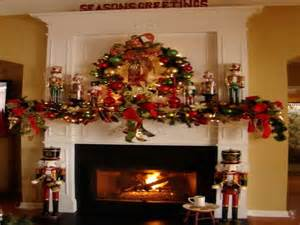 decoration red decorating a fireplace mantel for