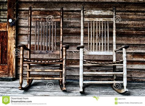 Front Door Chair Two Wooden Rocking Chairs Stock Photo Image 68947078