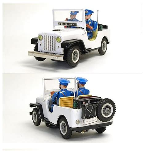 police jeep toy tin toys 1960s nomura toy police patrol jeep with outer