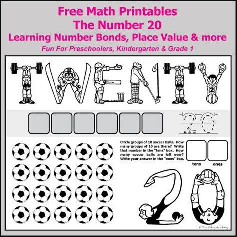 printable place value number line number bonds to 20 free math worksheets number bonds
