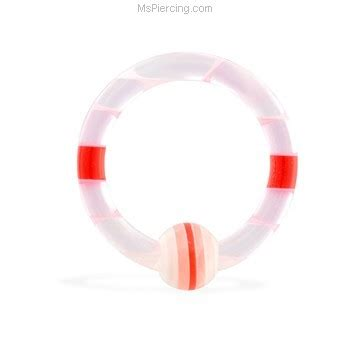 acrylic striped captive bead ring 12 ga at mspiercing