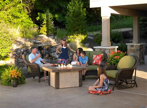 patio furniture boise backyard cement tile pit