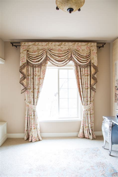 Curtains Valances And Swags Debutante Austrian Swags Style Swag Valance Curtain Set Pink Peony Patterns On Ivory Cotton