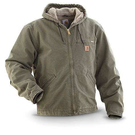 carhartt coat carhartt hooded sandstone jacket 215190 insulated jackets coats at 365