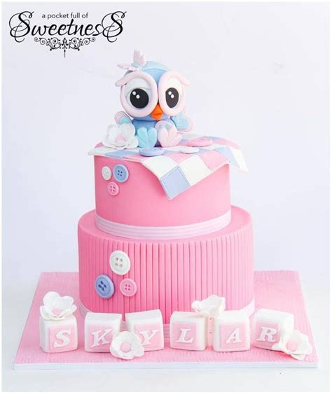 Girly Baby Shower Cakes by Girly Owl Baby Baby Shower Cake Baby Shower Cakes