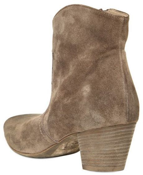 strategia 50mm suede low boots in beige taupe lyst