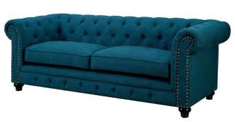 Cloth Chesterfield Sofa Bernadette Blue Fabric Tufted Sofa