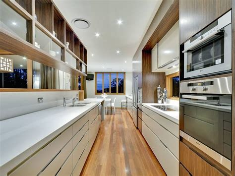Narrow Galley Kitchen Design Ideas by Modern Galley Kitchen Design Using Floorboards Kitchen