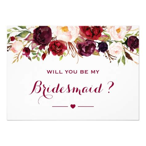 will you be my flower card template burgundy floral will you be my bridesmaid card