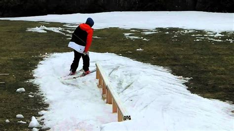 backyard skiing backyard ski rail sesh youtube
