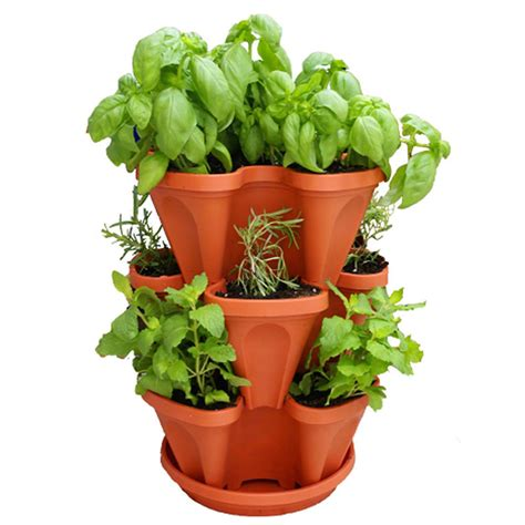 Herb Planter Outdoor Pots And Planters By | keybox 3pcs stackable garden planter herb flower pots