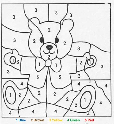 color by number printables teddy coloring pages hellokids