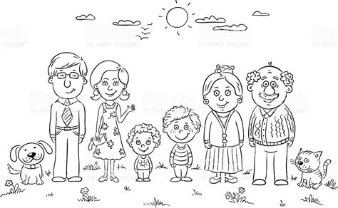 coloring pages happy family happy family outline stock vector art more images of