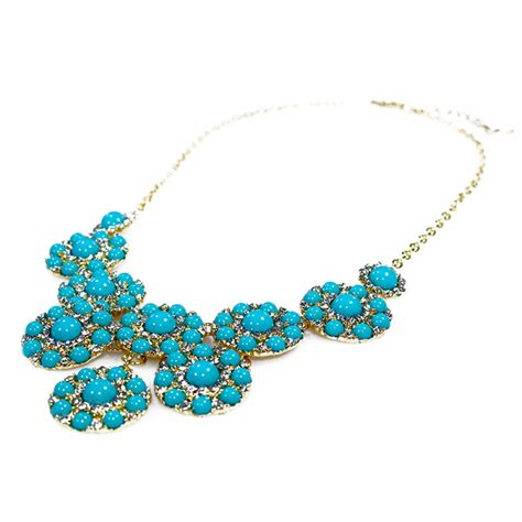 Best Seller Blue Flower Choker Playsuit turquoise bead flower bloom cluster statement necklace