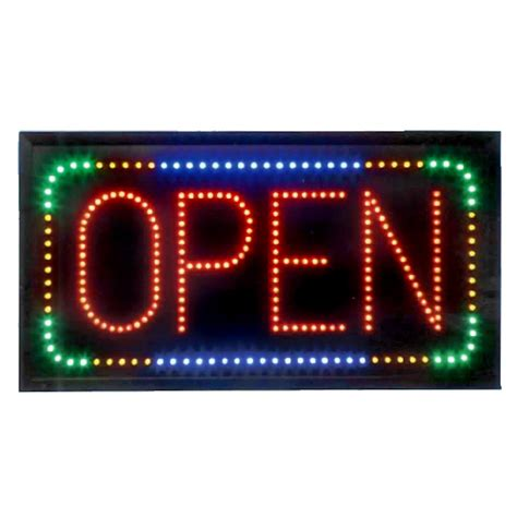 Led Sign Open animated led open sign with multicolored border led display