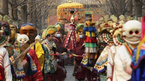 interesting beating ghost ceremony on losar festival
