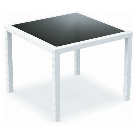white resin patio tables miami wickerlook resin square patio dining table white 37