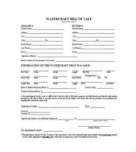 watercraft bill of sale 8 free sample example format