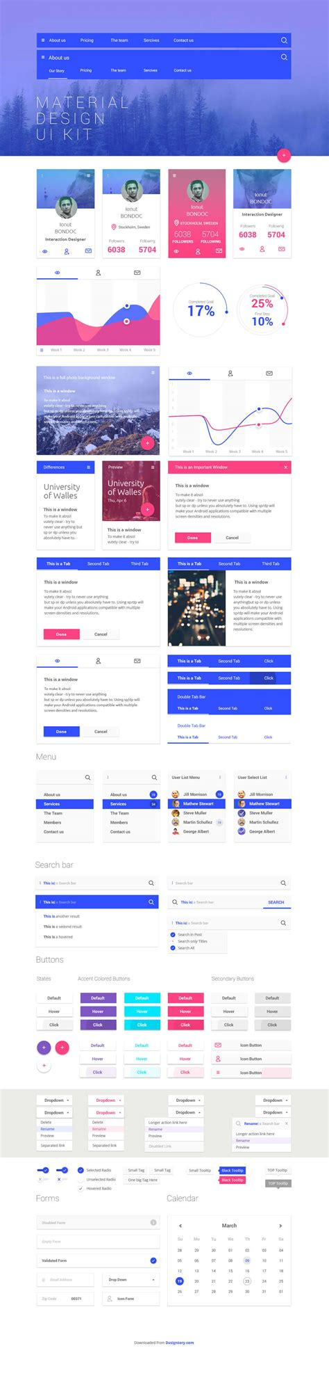 web layout ui kit free material design ui kit for web designers