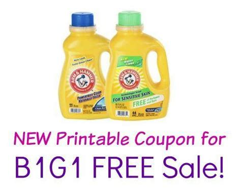 printable detergent coupons online printable arm hammer laundry detergent coupon b1g1