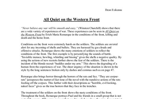All On The Western Front Essay Topics by All On The Western Front Essay A Level Marked By Teachers