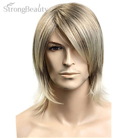 is long island medium hair a wig strong beauty synthetic hair blonde straight wig for men