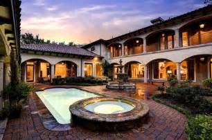 spanish hacienda with courtyard pool and fountain