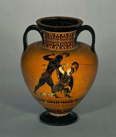 Achilles And Penthesilea Vase by Exekias Achilles And Penthesilea Black Figure Hora