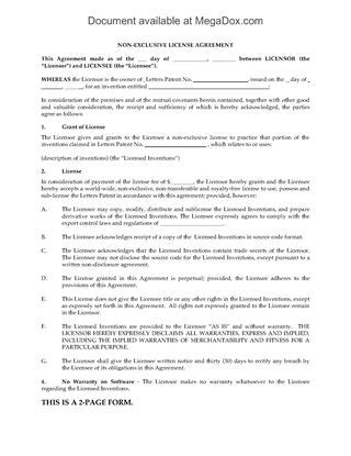 non exclusive license agreement template usa report on regarding patent or trademark
