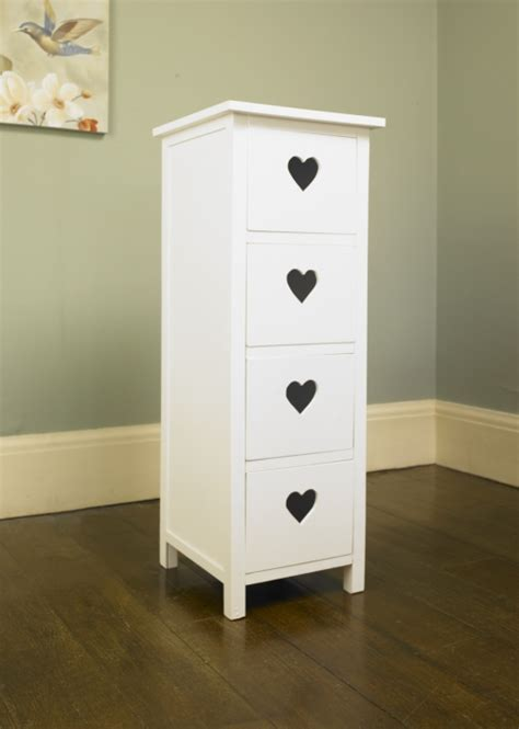 white heart bedroom furniture white heart 4 drawer tall boy shabby chest of drawers