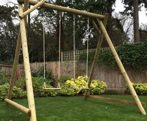 play swing double swing frame wooden garden play equipment