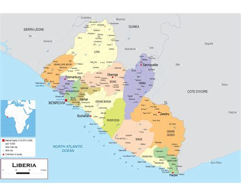 political map of liberia maps of liberia detailed map of liberia in