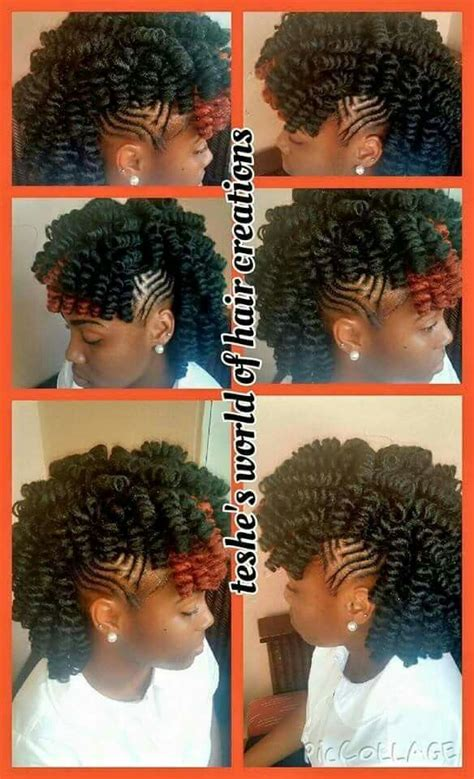 mohawk hairstyles with crochet hair kinky curly relaxed extensions board braids braids