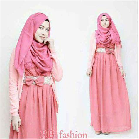 Setelan Cardi Dress setelan dress baju muslim modern ribbon maxi pink mamosa