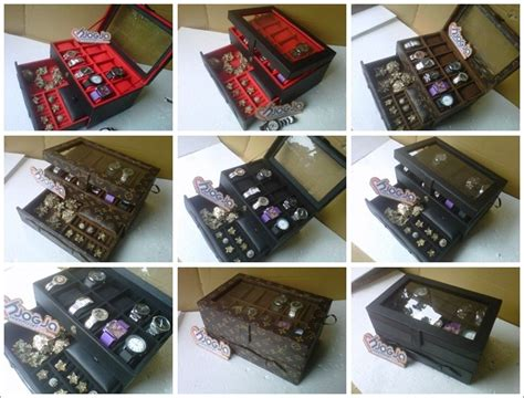 Jam Tangan 5 11 Set Senter box jam isi 12 plus laci tempat perhiasan
