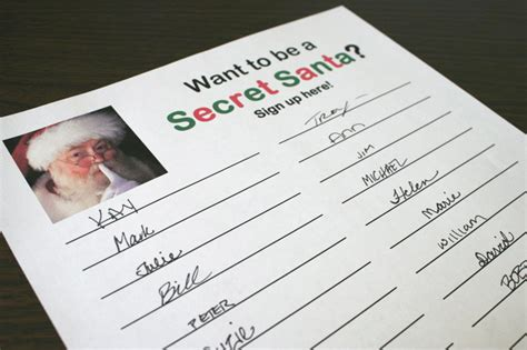 Secret Santa Sign Up Sheet Printable