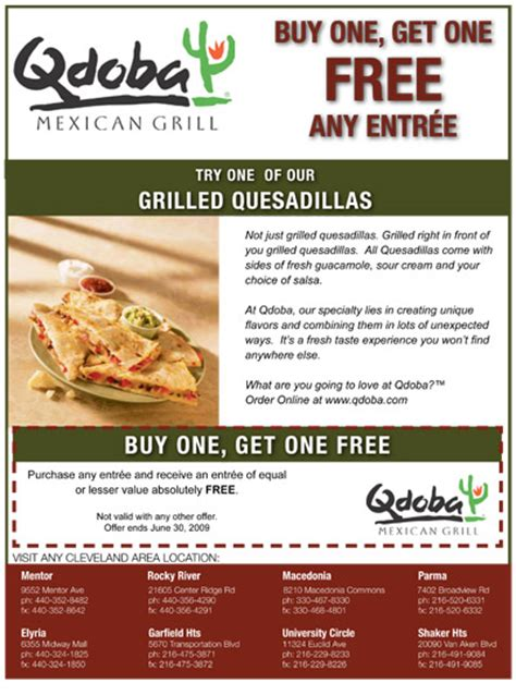 printable menu for qdoba qdoba buy one get one free offer the official site of